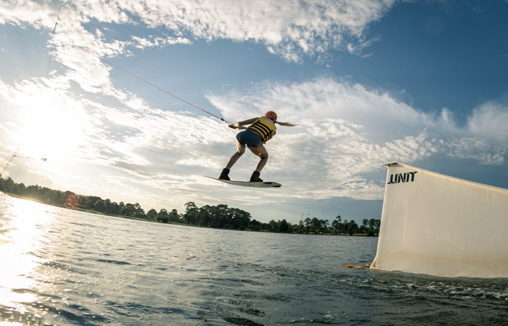 Rider getting air off of a ramp at Shark Wake Park 561