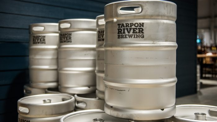 Kegs at Tarpon River Brewing in Fort Lauderdale