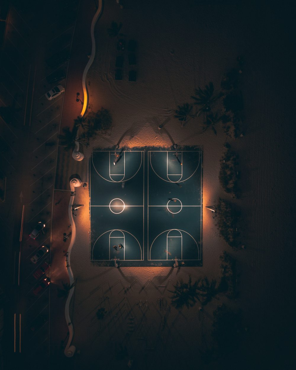 Drone image of basketball court