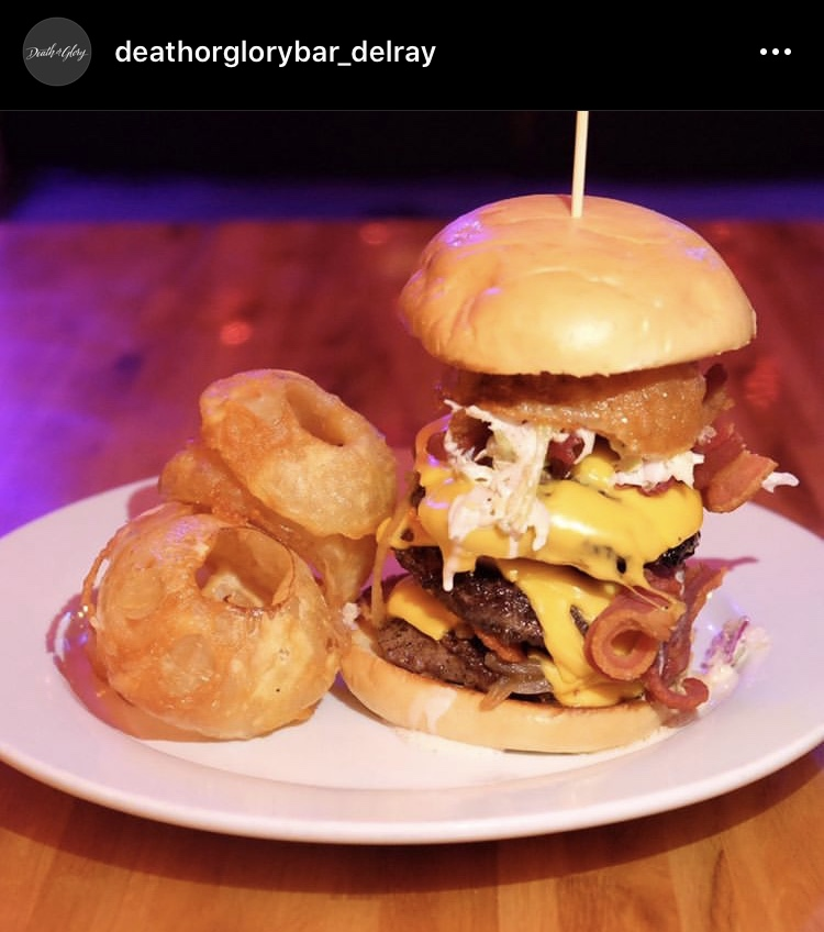 The Triple DoG Dare You burger at Death or Glory Bar in Delray Beach.